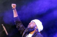 Lead singer of star reggae band Morgan Heritage Peter Morgan soaks in the atmosphere at Speyside.