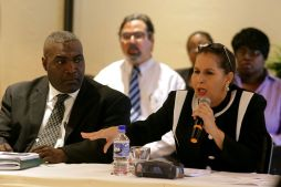 Diane Hadad, right, former president of the Tobago Division of the T&T Chamber of Industry and Commerce, makes a point during the stakeholder discussions. To her left is the current Tobago Division president, Demi-John Cruickshank.