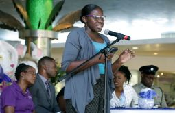 Bishop's High school student Oshun Trim delivers a powerful message through spoken word.
