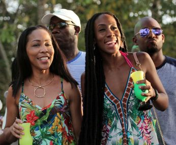 Prime Minister Dr. Keith Rowley, second from left, attends the event along with wife Sharon Rowley, left, and daughter Tonya Rowley-Cuffy.