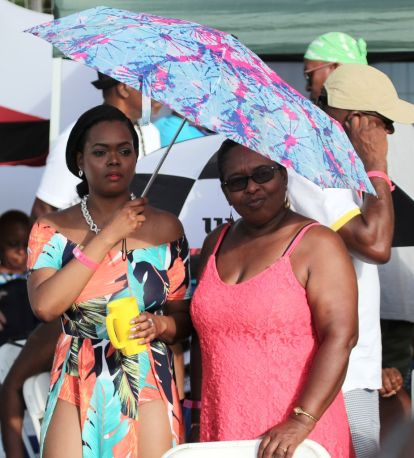Music fans bring their own shade as they take in the performances.