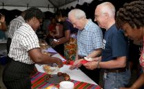 Guests sample local hors d'oeurves during the event.