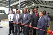 Cutting the ribbon to open the NESC Skills Center in Goldsborough, from left are NESC director and Sector Head -ANSA Automotive, Jerome Borde. Education Minister Anthony Garcia, THA Chief Secretary Kelvin Charles, Minister of State in the Ministry of Education Dr Lovell Francis and NESC President Kern Dass.