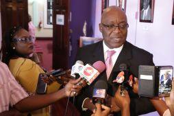 Chief Secretary Kelvin Charles addresses the media following the budget presentation.