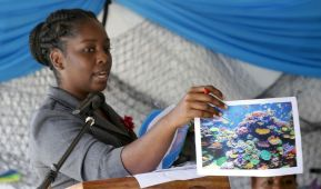 Esther Tobias-Clarke shares with the audience on various aspects of the ocean.