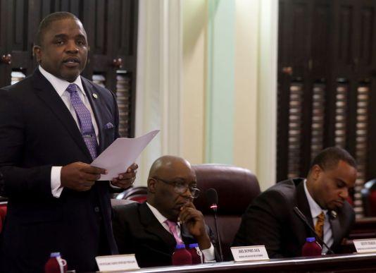 Secretary of Finance and the Economy Joel Jack during the budget presentation.