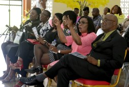 Roxborough Secondary principal Sandra Dee George, second from right, enjoys the programme in the company of THA Chief Secretary Kelvin Charles, right,Secretary for Tourism, Culture and Transportation and past student Councillor Nadine Stewart-Phillips.