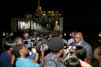 Chief Secretary fields questions from the media following the tour of the vessel.