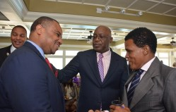 From left, Secretary of Infrastructure, Quarries and the Environment Kwesi Des Vignes, THA Chief Secretary Kelvin Charles, and Clerk of the Parliament of Barbados Pedro Eastman.