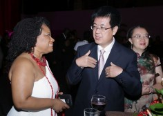 Presiding Officer of the THA Legislature Dr Denise Tsoiafatt-Angus, left, talks with Chief of Administration and Consular Officer of the Embassy of the People's Republic of China, Li Junhong, along with Mr. Li's wife, Yi.