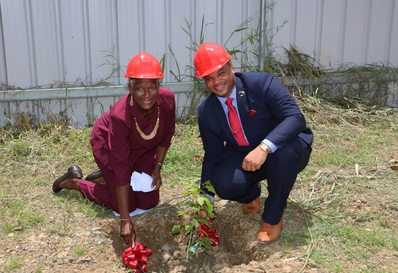Secretary of the Division of Infrastructure, Quarries and the Environment Kwesi Des Vignes and Roxborough Village Council President Olga Caruth plant a tree during the sod-turning ceremony at the Roxborough Administrative Complex.