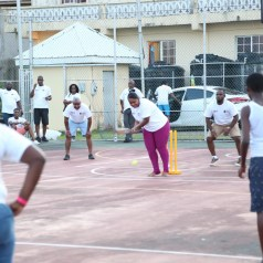 Members of the various youth organisations play a game of cricket at the Signal Hill Recreational Facilities. The Youth organisations in the area celebrated the opening of the centre with an afternoon of cricket, football and netball.