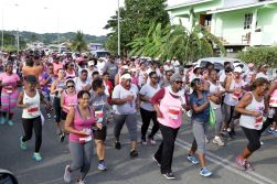 The afternoon start saw hundreds of women run and walk from the start line at Gulf City Mall, Lowlands.