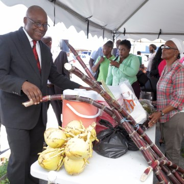 Chief Secretary Kelvin Charles, left, browses the tents during World Food Day.