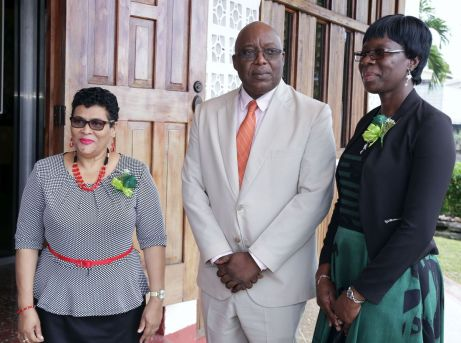 From left NPTA president Zena Ramatali, Chief Secretary Kelvin Charles and president of the Tobago Chapter of the NPTA, Denise Nelson-Frank.
