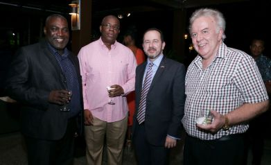 Tobago Chamber of Industry and Commerce Tobago Division president Demi John Cruickshank, businessman Curtis Williams, British High Commissioner Tim Stew and Tobago Hotel and Tourism Association president Chris James.