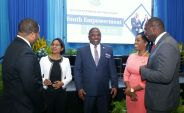 (From left) Secretary of Infrastructure, Quarries and the Environment Kwesi Des Vignes, Sasha Layne of Ginamco Caribbean Ltd, Secretary of Finance and the Economy and Deputy Chief Secretary Joel Jack, Secretary of Tourism Nadine Stewart-Phillips and Assistant Secretary in the Division of Community Development, Enterprise Development and Labour Shomari Hector.