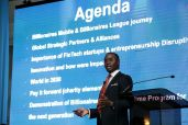 Presenter Sheldon Powell, CEO of Billionaires League App, speaks to the audience.
