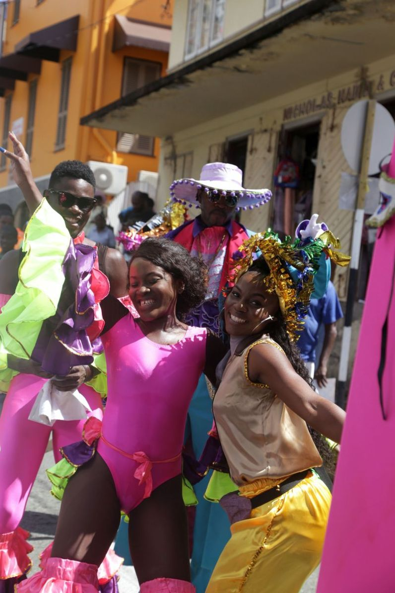 Revelers enjoy themselves in the streets of Scarborough.