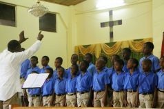 """Hope Anglican Primary school boys' choir sing the test piece Kum Ba Yah (""""Come by Here"""") to place second in the schools choir (15yrs and under)."""