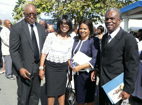 Chief Secretary Kelvin Charles, Catherine Charles, Brigid London, and His Excellency Orville London, High Commissioner of the Republic of Trinidad and Tobago to the United Kingdom of Great Britain and Northern Ireland attend the funeral service.