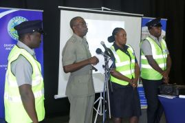 Police Constable Kelson Valere, Assistant Commissioner of Police Garfield Moore, Woman Police Constable Tonnie Ramsey and Police Constable Rendell Thomas on stage at the event.