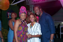Minister of Community Development, Culture and the Arts Nyan Gadsby-Dolly, left foreground, is among the fans at Tobago Jazz Experience.