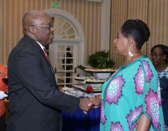 THA Chief Secretary Kelvin Charles is greeted by Trinidad and Tobago President, Her Excellency Paula-Mae Weekes during the reception.