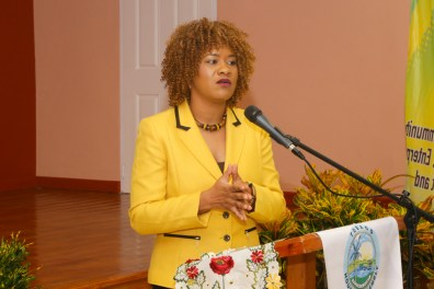 Minister of State in the Office of the Prime Minister Ayanna Webster-Roy addresses the audience.