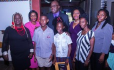 From left St. Andrews Anglican Principal Nicole Henry, Ceronne Brebnor,who is the mother of Khaleel Job, Khaleel Job from St. Andrews Anglican (12th place student and top boy in Tobago), Chief Secretary Kelvin Charles, Neshone Russel from St. Andrews Anglican, Secretary of Community Development Enterprise Development and Labour Marslyn Melville-Jack, mother of Neshone Russel and Assemblyman Marisha Osmond.