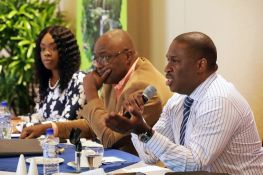 From left, Tourism Secretary Nadine Stewart-Phillips, Chief Secretary Kelvin Charles, and TTAL CEO Louis Lewis.
