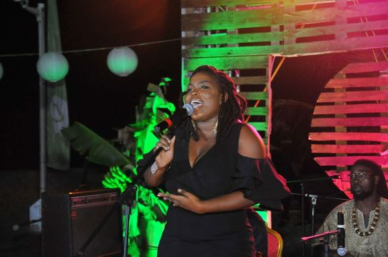 Yolanda Job-Thomas performs.