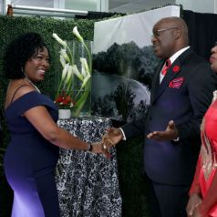 THA Chief Secretary Hon. Kelvin Charles and wife, Catherine Anthony-Charles, greet guests upon their arrival, including Secretary of Community Development, Enterprise Development and Labour Marslyn Melville-Jack, third from right.
