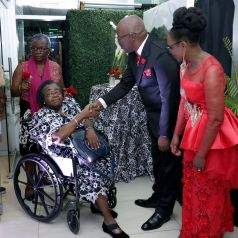 Second from left, Kenetta Bobb, is greeted by THA Chief Secretary Hon. Kelvin Charles and wife, Catherine Anthony-Charles, while at left is Visa Romeo-Guy.