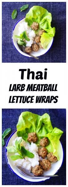 thai larb meatball lettuce wraps