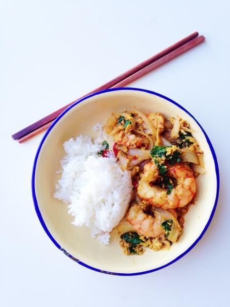 Quick Thai Shrimp Curry Stir-Fry Recipe | Goong Pad Pong Karee