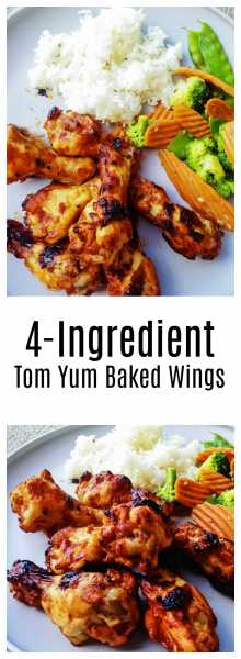 4 Ingredient Tom Yum Baked Wings-Only four ingredients, tom yum paste, ketchup, sambal paste, and chicken! It's quick, easy and toddlers love it! | thai-foodie.com