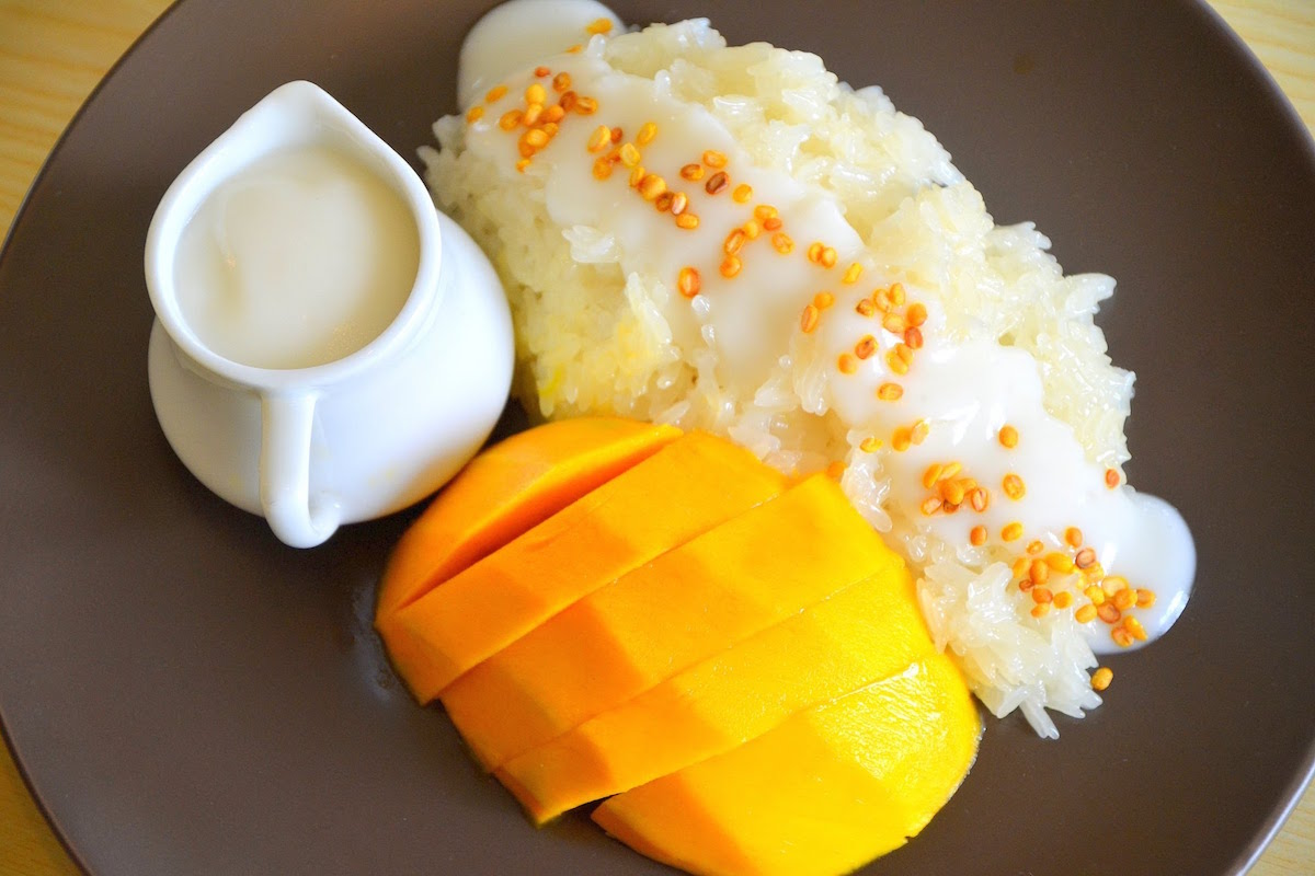 Image result for sticky rice with mangoes