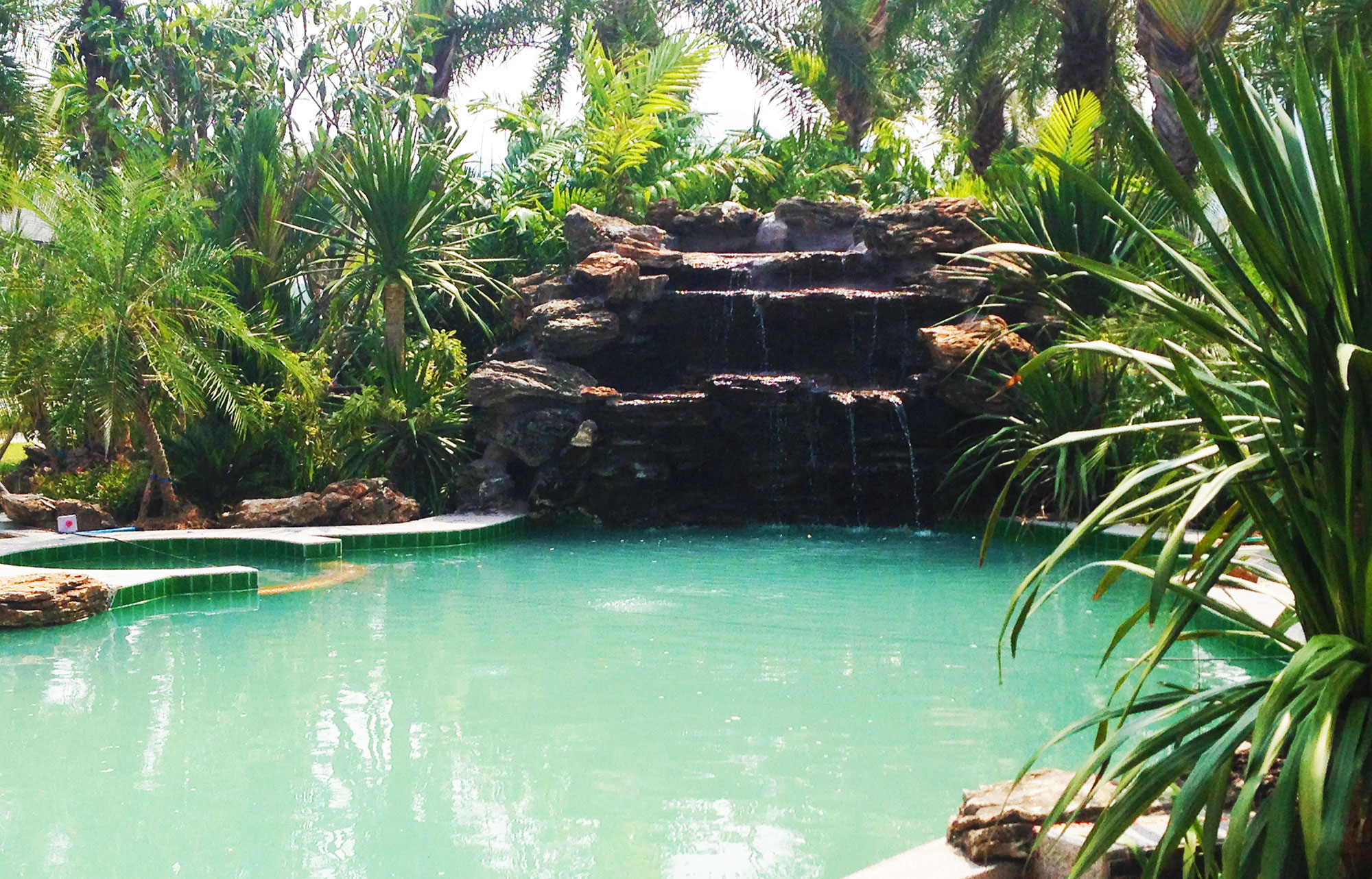 Pool Waterfall Construction And Tropical Garden At Fishing