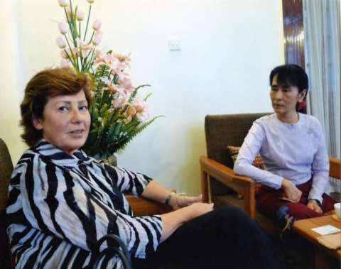 Assistant High Commissioner Erika Feller and Aung San Suu Kyi.