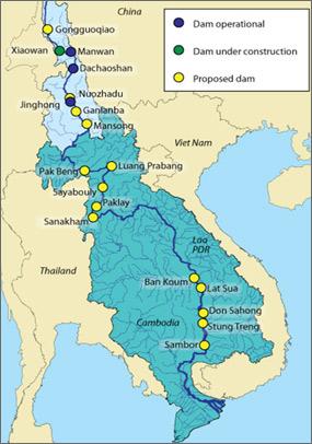 China dams on the Mekong River