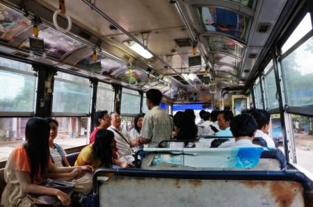 rundown bus interior Myanmar