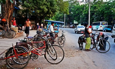 bicycles Myanamar street view