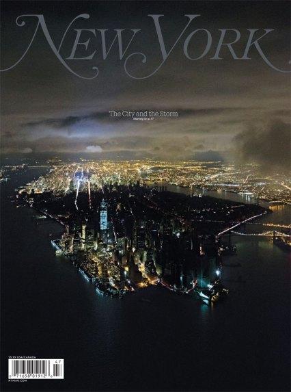 The dichotomy of Upper and Lower Manhattan during Sandy. Photo: New York Magazine