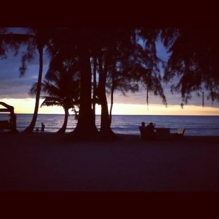 beach tourist sunset