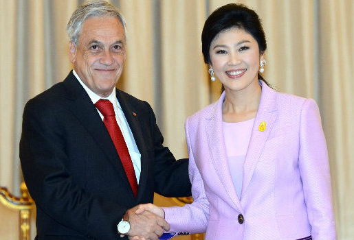 Yingluck Shinawatra and Chilean President Sebastián Piñera Echenique