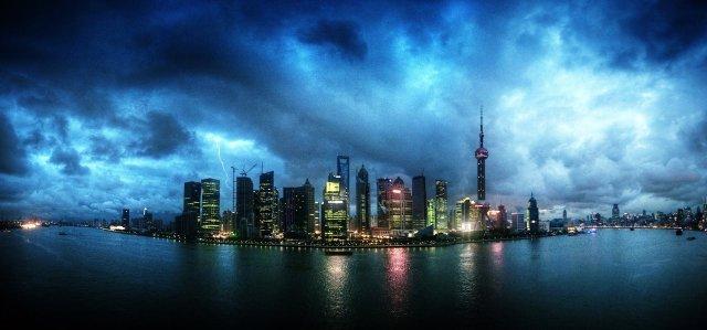 Shanghai skyline at night, panoramic. China, East Asia. Mstyslav Chernov