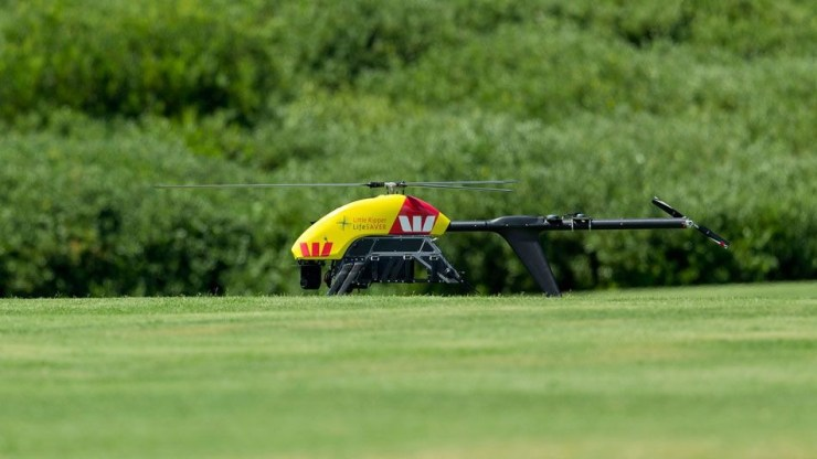 The long-range drone being trialled, nicknamed the Little Ripper, looks much like a mini-helicopter and is battery-powered.