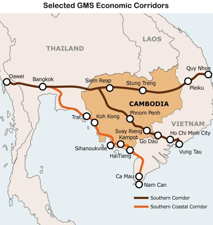 Map: Selected GMS Economic Corridors