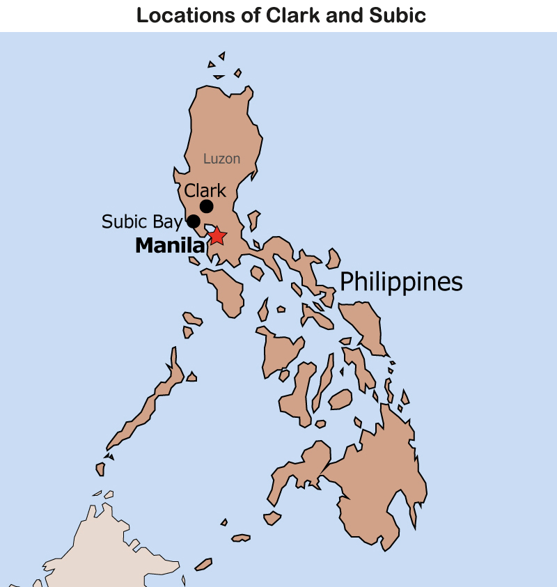 Map: Locations of Clark and Subic